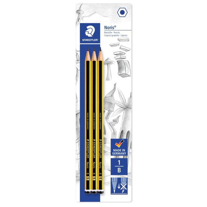3 Bleistifte - Härtegrad 1B - Noris