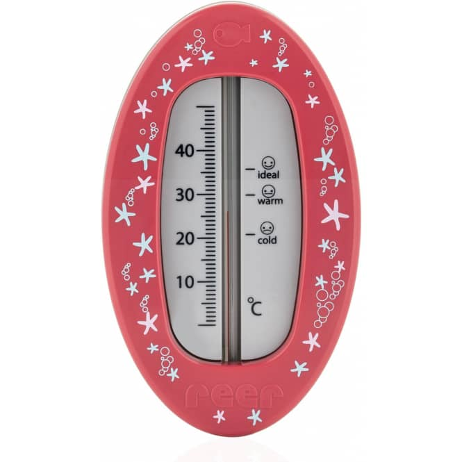 Badethermometer - rot mit Seesternen