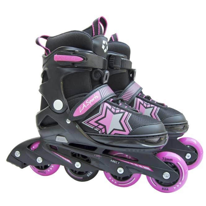 Inline Skates mit Stern in pink/schwarz - verstellbare Größe: 29-33
