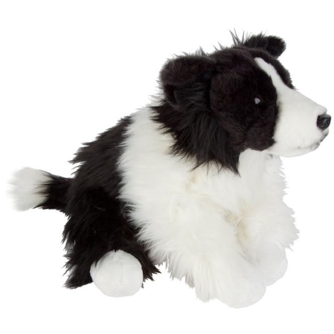Plüsch Hund Border Collie sitzend -  ca. 30 cm - schwarz / weiß