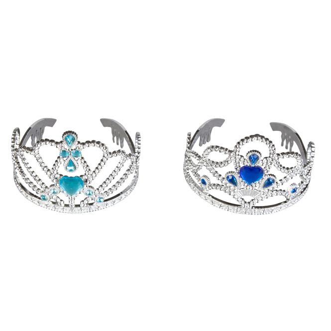 Prinzessinnen-Krone - silber/blau - Ø = 11 cm - 1 Stück