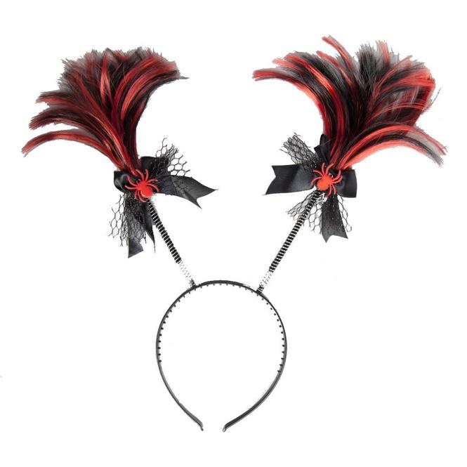 Haarreif mit Zöpfen, schwarz- rot