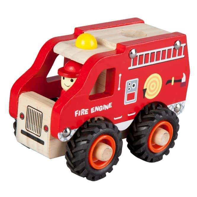 Besttoy - Holz Schiebefahrzeug - Feuerwehrauto - 13cm