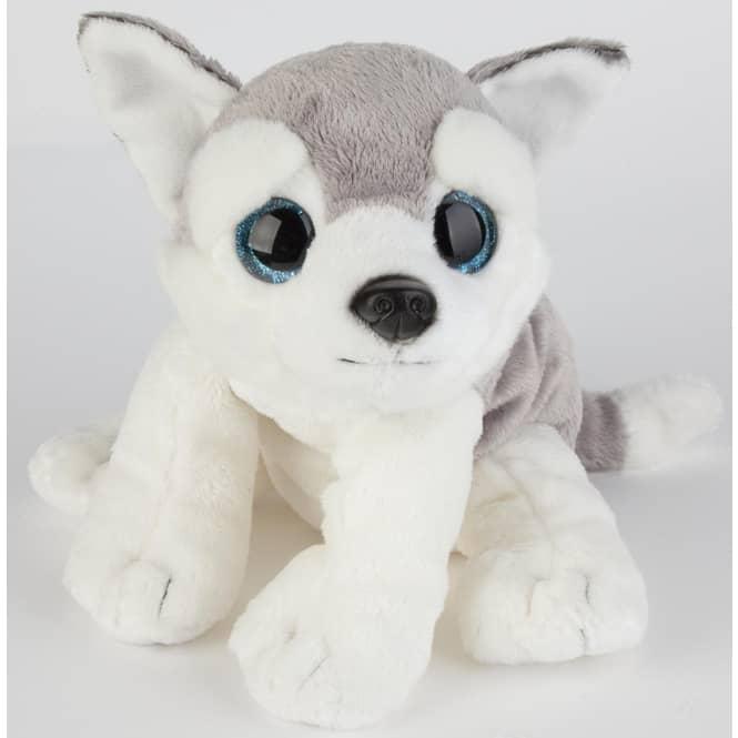 Plüsch Husky liegend - ca. 26 cm - grau / weiß