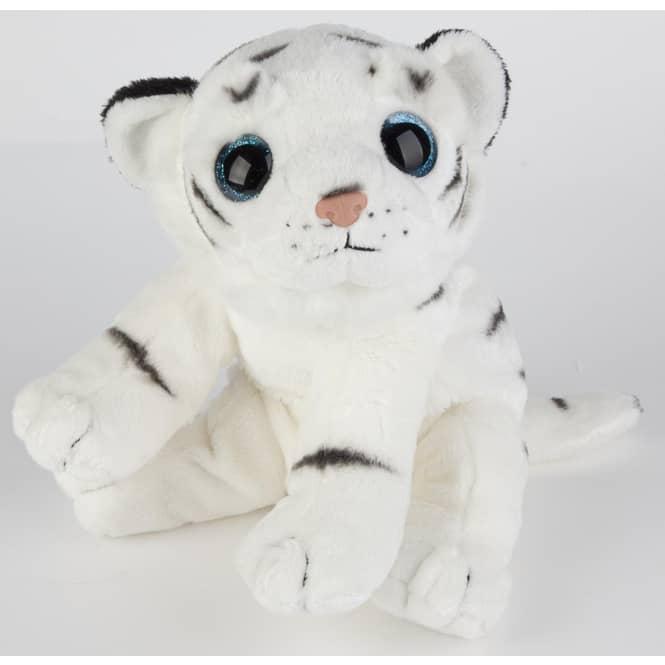 Plüsch Tiger liegend - ca. 26 cm - weiß