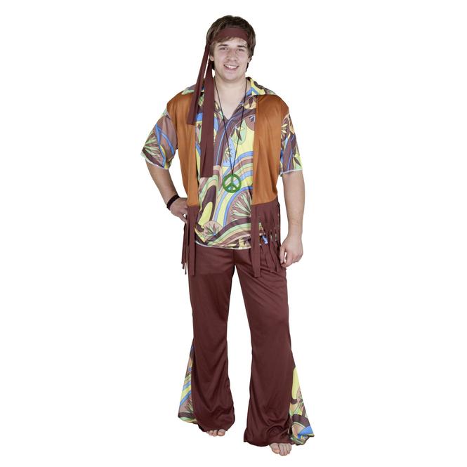 Kostüm Hippie Mann für Erwachsene, 4-teilig