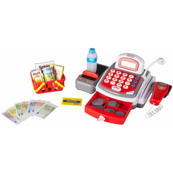 Registrierkasse für Kinder in weiß/rot/grau, mit viel Zubehör