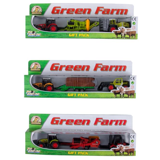 Spielset - Green Farm - Traktor + Anhänger + Fahrzeug - 1 Stück