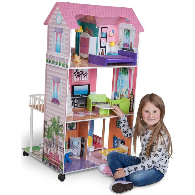 Riesen-Puppenhaus auf Rollen - Besttoy - Maße: ca. 118 x 65 x 60 cm