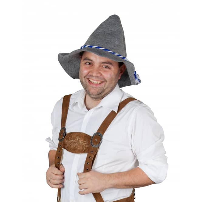Tirolerhut - mit blau/weißer Kordel - für Erwachsene