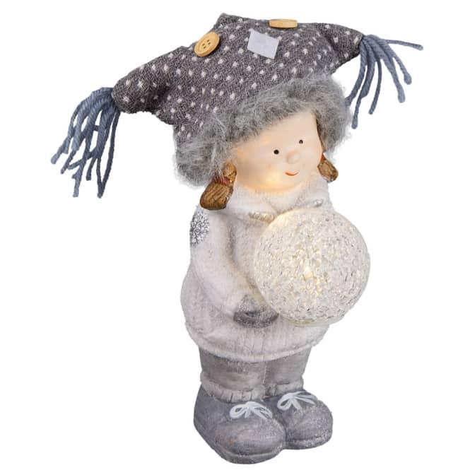 Winterkind mit LED-Kugel - aus Terrakotta - verschiedene Ausführungen