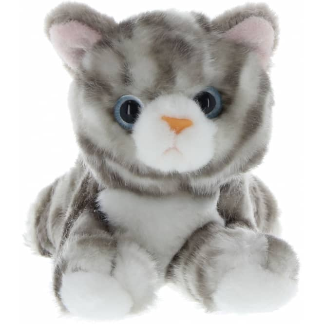 Besttoy - Plüsch-Katze - grau - liegend
