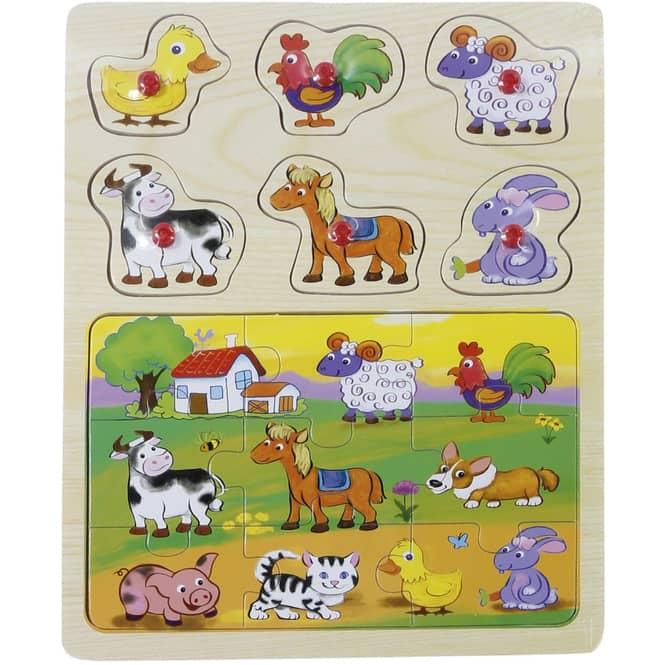 Besttoy - 2faches Puzzle aus Holz - Bauernhoftiere