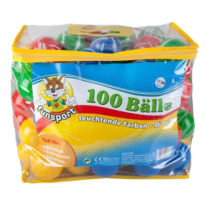 100 Spielbälle in Tasche