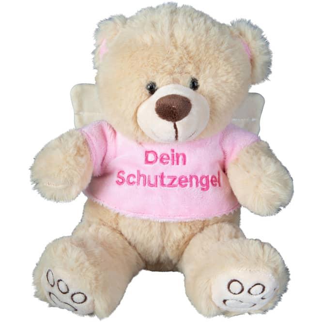 Besttoy - Plüsch Bär in beige - mit rosa Shirt und Flügeln