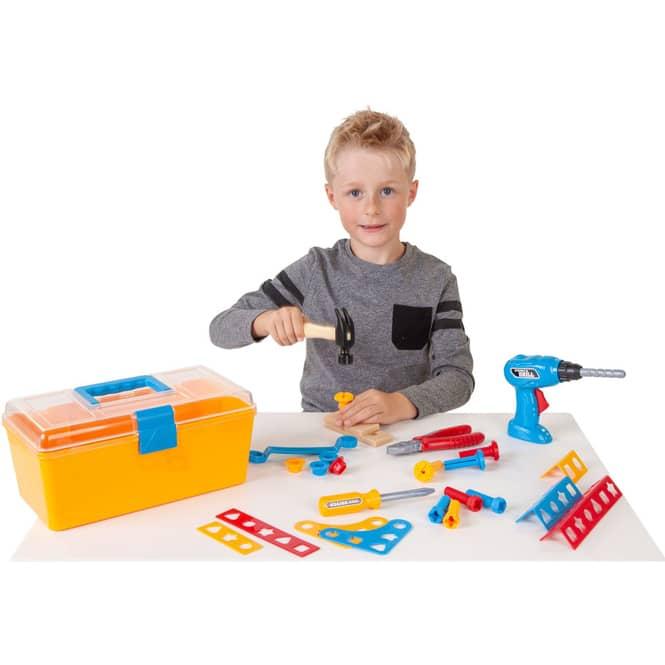 Besttoy - Werkzeug Set mit Bohrmaschine, im Koffer, gelb
