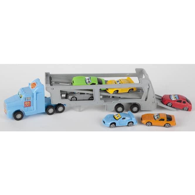 Autotransporter mit Freilauf - inkl. 6 Fahrzeuge - 32x9x5 cm - 1 Stück