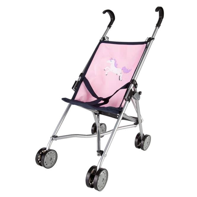 Puppenbuggy - dunkelblau/rosa mit Einhornmotiv