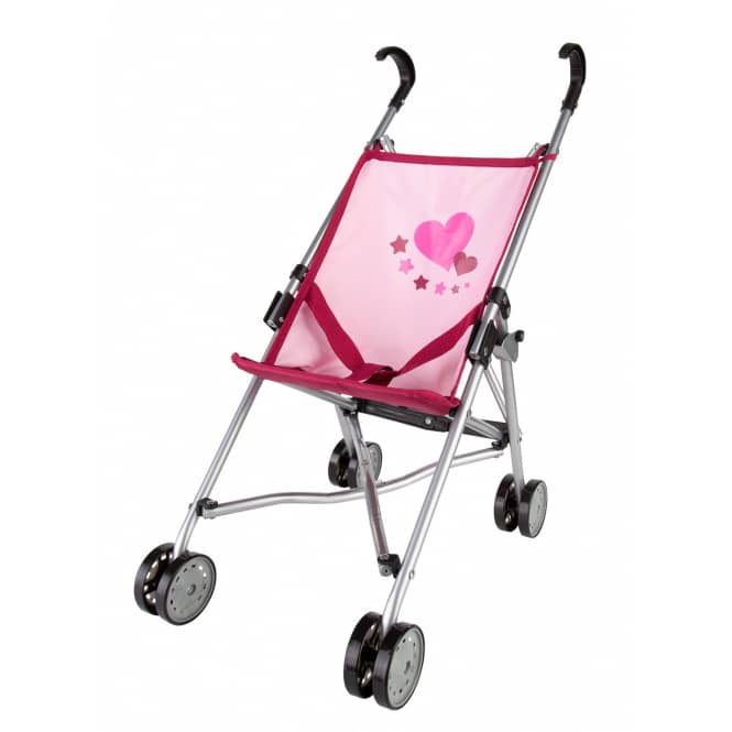 Puppenbuggy - rosa/ bordeaux mit Herzmotiv