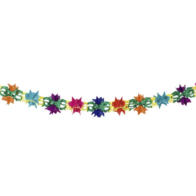 Girlande aus Papier bunt mit Blumenmuster