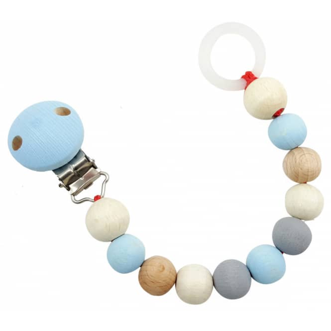 Holz-Schnullerkette - blaue Perlen
