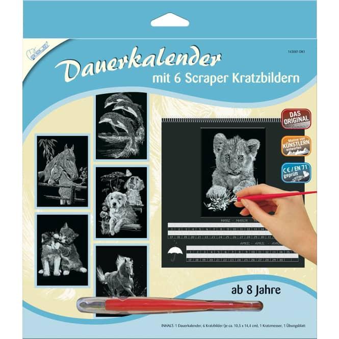 6 Kratzbilder mit Dauerkalender - silber - Mammut