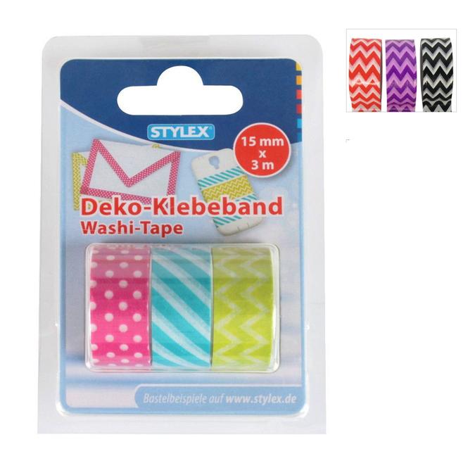 Deko-Klebeband - Washi-Tape - Geometrisch - 3 Rollen à 3m