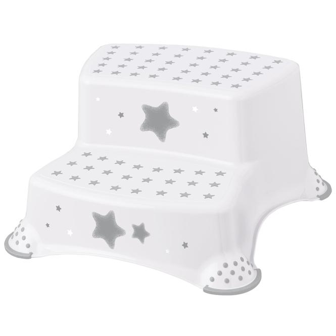 Tritthocker - Sterne - weiß