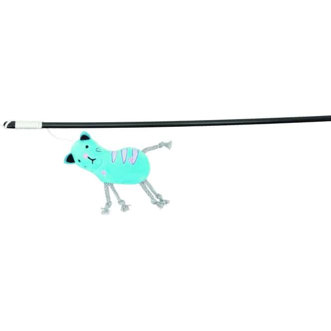 Katzenspielzeug - Spielangel mit Plüschkatze - 47 cm