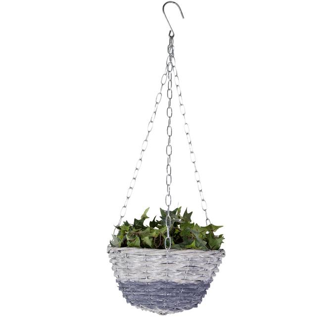 Blumenampel - grau, Spaltweide - mit Kette
