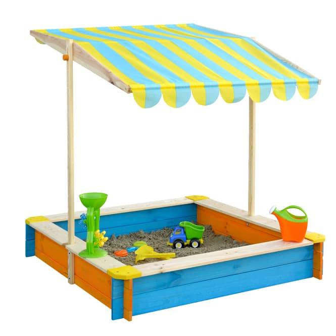 Sandkasten aus Holz - mit Dach - blau/gelb