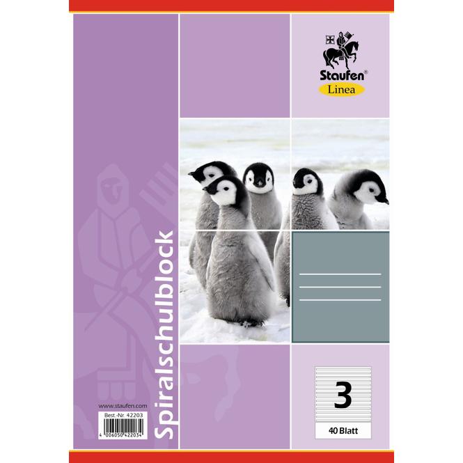 Staufen-Demmler Spiral-Schulblock A5 Lineatur 3, liniert, 40 Blatt, 70g