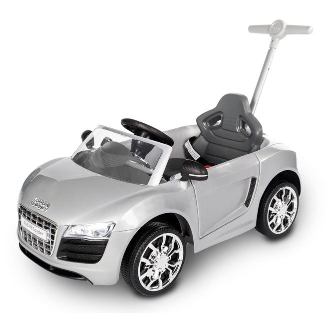 Rutschauto mit Schiebestange - Audi R8 Spyder - silber