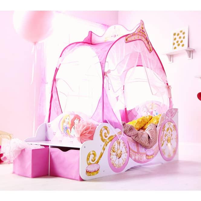 Disney Princess - Kinderbett im Kutschen-Design mit Sitzbank - ca. 70 x 140 cm