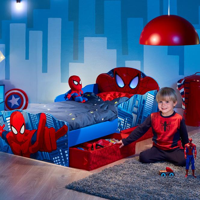 Spider Man - Kinderbett mit Stauraum und Licht - ca. 70 x 140 cm