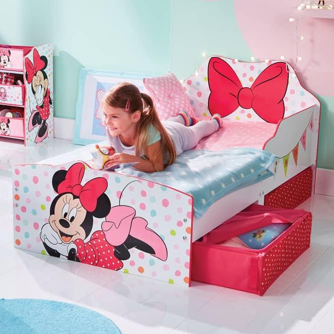 Minnie Mouse - Kinderbett mit Stauraum - weiß gepunktet - ca. 70 x 140 cm