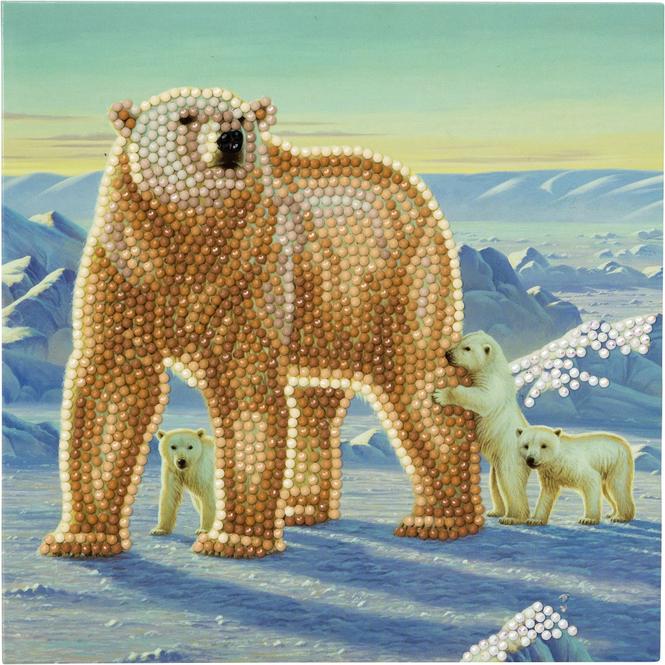 Crystal Art  - Kristallkarte - Eisbär Familie