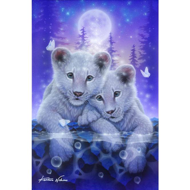 Crystal Art - Kristallbild - Weiße Löwenkinder