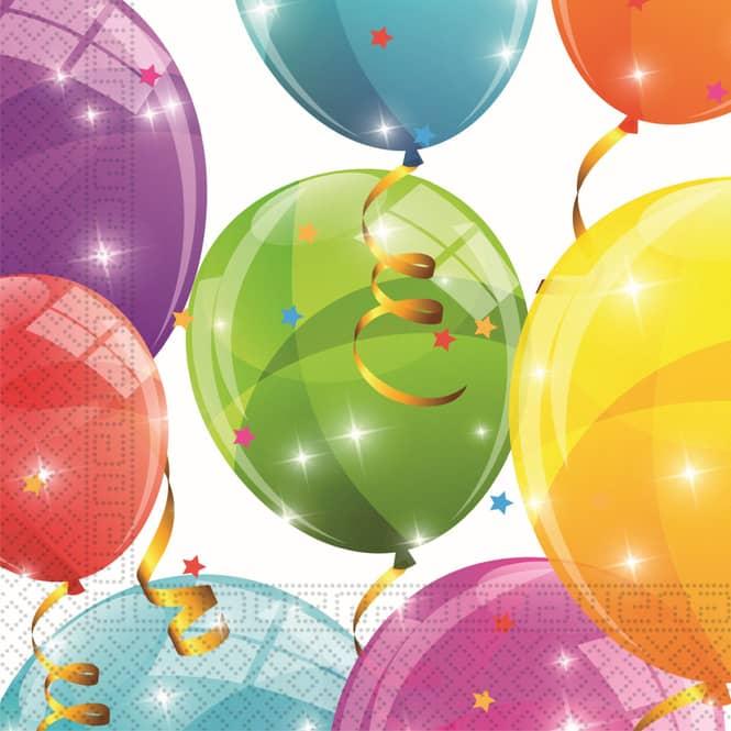20 Servietten - Luftballons - ca. 33 x 33 cm
