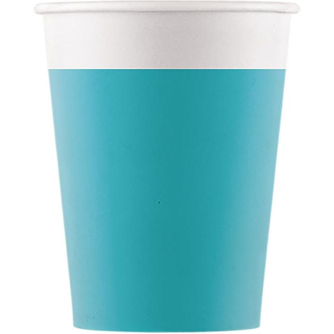8 Becher - türkis/weiß - ca. 200 ml
