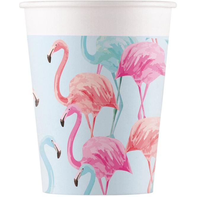 8 Becher - Flamingo - ca. 200 ml