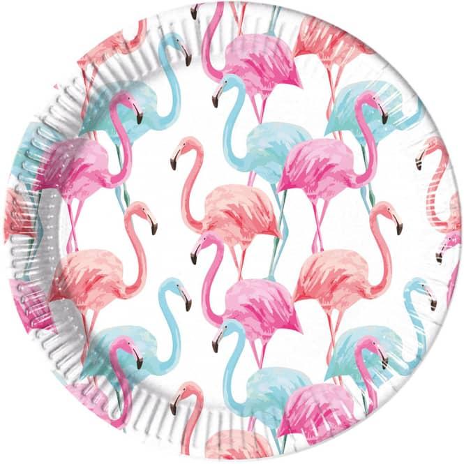 8 Teller - Flamingo - Ø ca. 23 cm