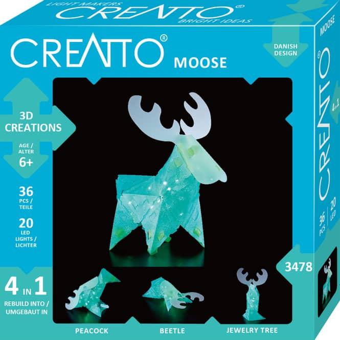 CREATTO - Elch - 3D Puzzle mit LED-Lichtern