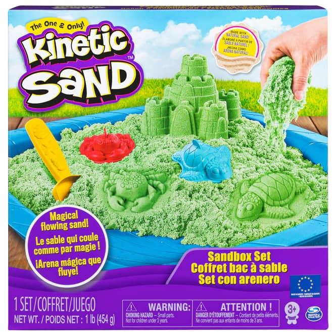 Kinetic Sand Box - Sandburg Set - grün