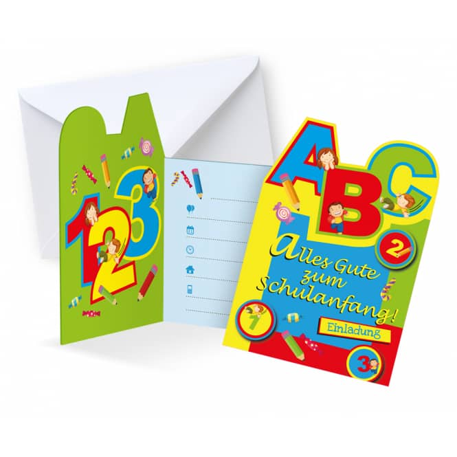 6 Einladungskarten - Schulanfang