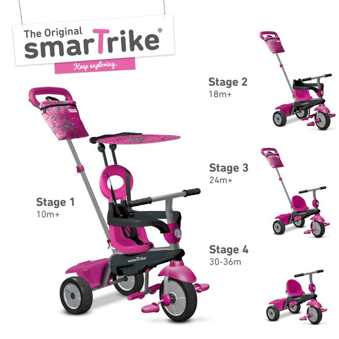 smarTrike Dreirad mit Dach - Vanilla - pink
