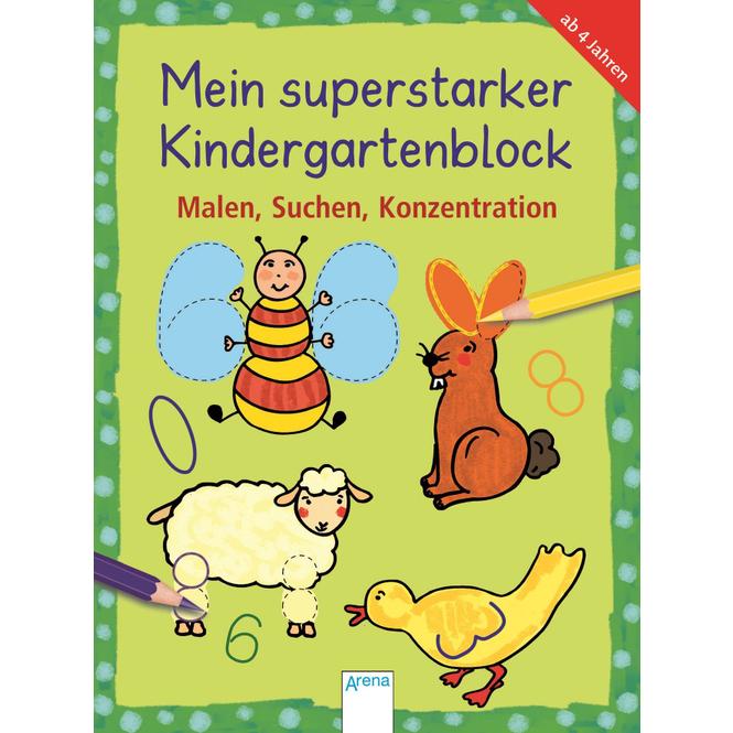 Mein superstarker Kindergartenblock - Malen, Suchen, Konzentration