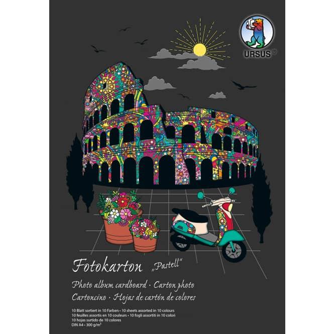 Fotokarton DIN A4 - 10 Blatt in 10 Pastell-Farben