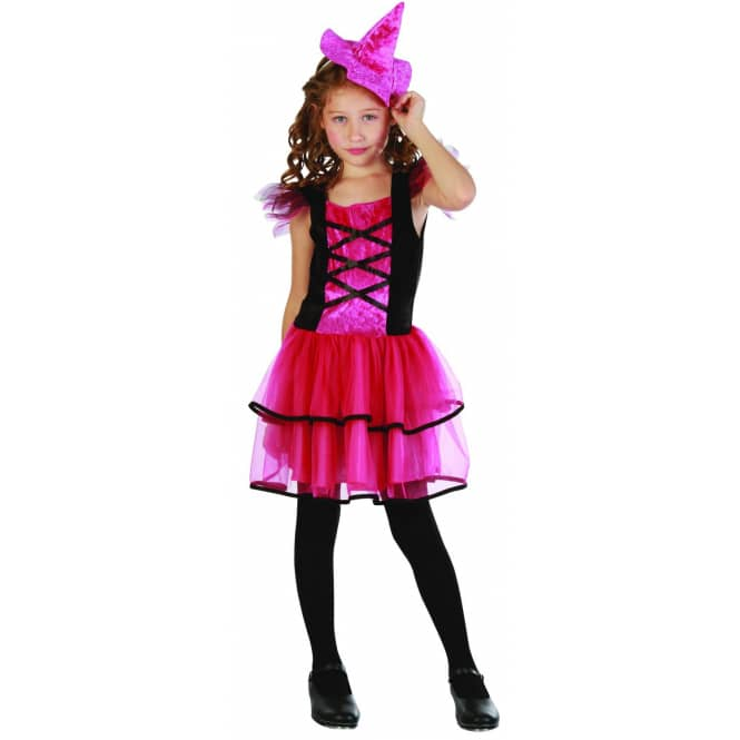 Kinderkostüm Hexe 2tlg schwarz/pink