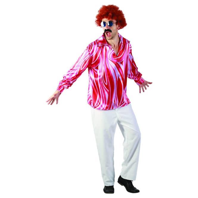 Kostüm Disco Shirt für Erwachsene weiß/pink